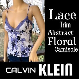 ▪️CALVIN KLEIN▪️Lace Trim Abstract Floral Camisole